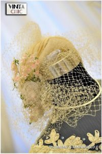 1970s Ivory Bride Headpiece Net and Flowers