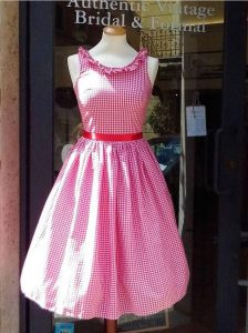 1950s Red and White Small Checked Dress