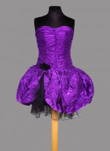 1980s Short Black and Purple Balloon Dress