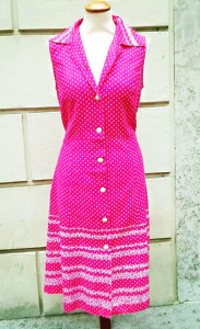 1970s Fuchsia Cotton Dress White Pois