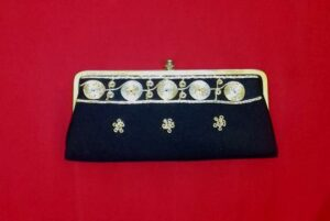 1960s Black Clutch Purse Gold and Silver Spiral Embroidery