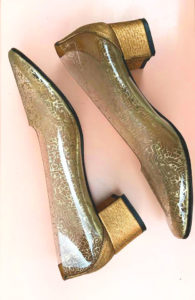 1960s Transparent Vinyl Shoes Golden Heel