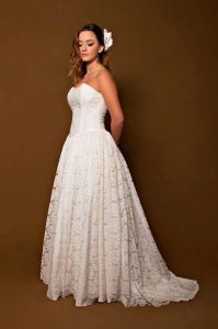 1950s White Lace Off the Shoulder Wedding Dress Cinderella