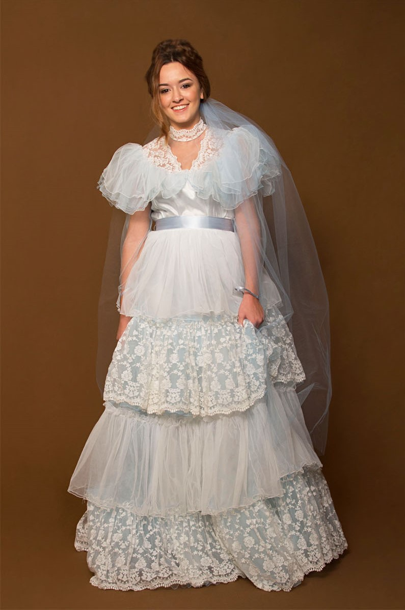 Cinderella 1980s White and Lace and Pale Blue Tulle Wedding Dress ...