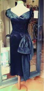 1950s Satin and Lace Black Dress Sofia Loren Style