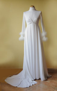 1970s Jersey and Marabou Sweetheart Glamour Wedding Dress