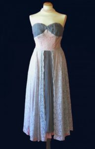 1950s Gray and Pink Lace Dress
