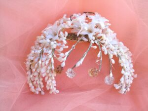 1920s Wax Flowers Tiara with Crystals