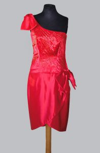 1950s One Shoulder Red Satin Gold Beads