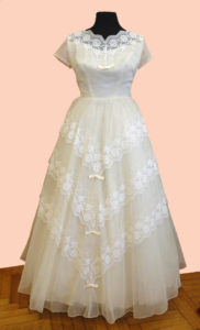 1950s Tulle and Chevron Lace Wedding Dress Short Sleeves