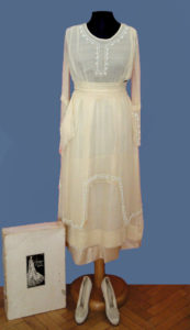 Chiffon Dress Embroidery White Beads and Shoes