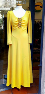 Yellow long dress with crystals neckline 1970