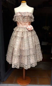 1950s Pearl Grey Lace and Pink Tafta Circle Skirt Dress
