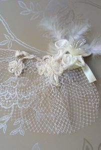Headdress Crochet Flowers and Net Veil