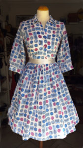 1950s Circle Dress Novelty Print Musical Instruments Blue and Pink