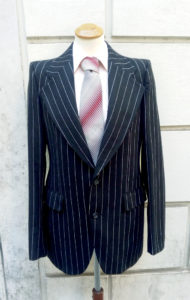 1970s Does 20s Black Striped Man Suit