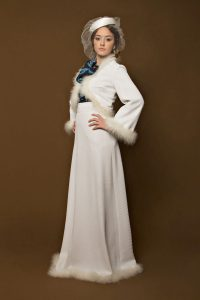 Long Skirt Bolero and Blue Shirt Wedding Dress Marabu 1970s