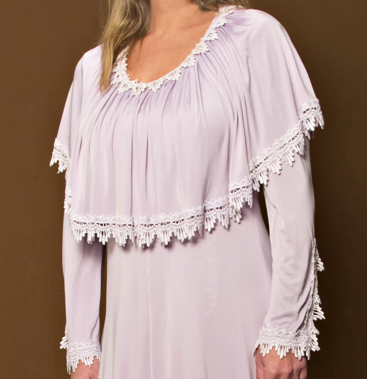 Lilac Silk Jersey Kaftan Wedding Dress 1970s