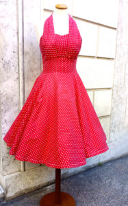 1950s Cotton Red Polka Dots Dress Pin Up