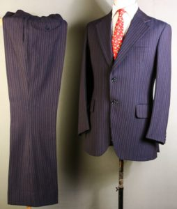 1970s Man Suit Blue Stripes