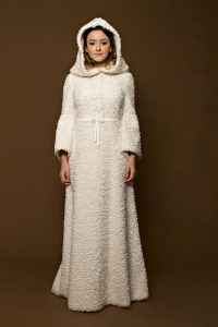 1960s Wool Bouclé Tsarina Wedding Dress with Removable Hood