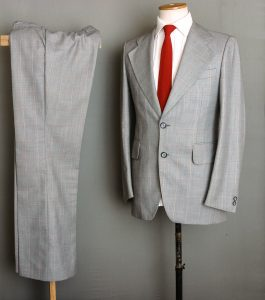 Red Striped Gray Man Suit