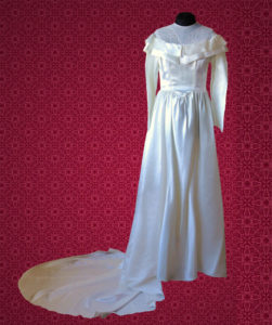 White Satin and Net Sailor Wedding Dress