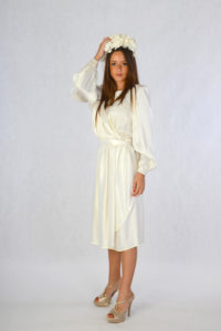 1980s does 1940s Ivory Silk and Lace Short Wedding Dress