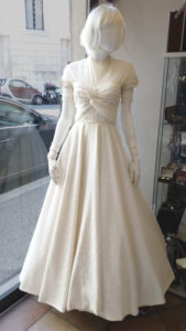 1950s Cream Lace Circle Skirt Dress Sweetheart